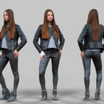 Leather outfit Girl 3D model Free Download