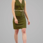 Asian girl in green dress 3d model Free Download
