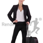 Business lady with luggage Full Body scanned 3d model Free Download