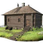 Wooden house with thatched 3d Model Free Download