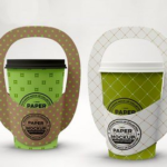 Single Cup Paper Carrier Packaging Mockup